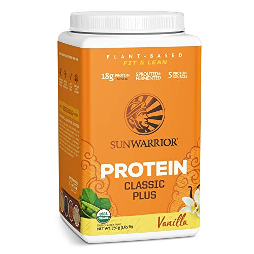 Sunwarrior - Classic Plus - Vegan Protein Powder with Peas and Brown Rice Raw Organic Plant Based Protein - Vanilla - 750g