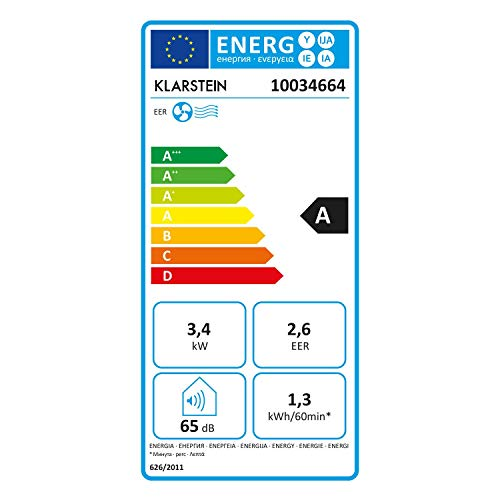 Klarstein Kraftwerk Smart - Climatizzatore, 3in1: Raffrescatore, Deumidificatore, Ventilatore, Classe Energetica A, 12.000 BTU/3,5kW, Wi-Fi: Controllo con App, Locale: 35-59 m², Bianco
