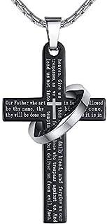 Black Ring Cross Pendant Necklace Long Chain for Men Women