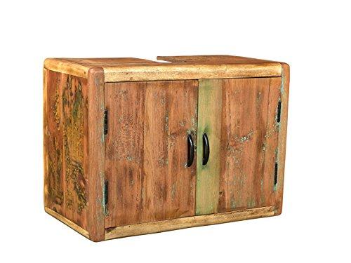 Woodkings® Bad Waschbeckenunterschrank Kalkutta recyceltes Holz bunt rustikal Waschtischunterschrank Badmöbel Badezimmer Badschrank Bad Unterschrank Massivholz (ohne Fuß)