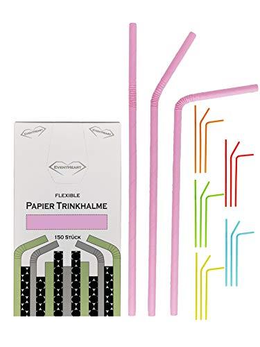 EventHeart - 150 Stück Flexible Papier Trinkhalme einfarbig, 24cm lang, biologisch abbaubar (pink)