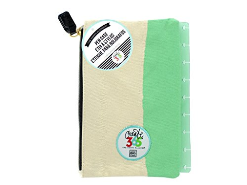 me & my BIG ideas Snap-In Pen Case - The Happy Planner Scrapbooking Supplies - Mint Green With White - Fabric Zippered Pouch - Holds Pens, Pencils & Small Accessories - Snaps Into Your Happy Planner