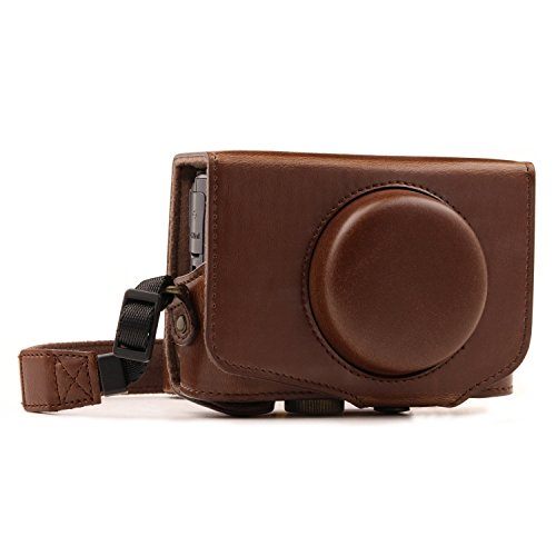 MegaGear MG1174 Para Canon PowerShot SX740 HS, SX730 HS Estuche Ever Ready, Funda de pronto uso de cuero, con correa, Marrón oscuro
