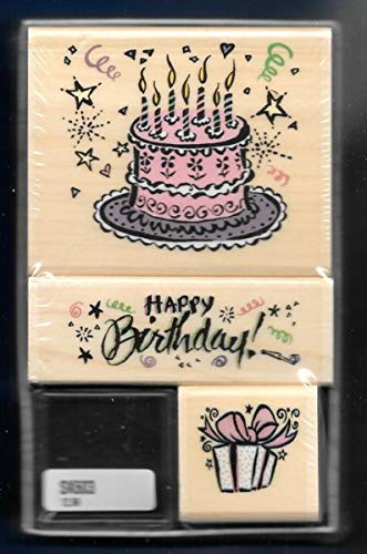 Rubber Stamps Psx Happy Birthday Cake Gift Confetti Set Sk603 Santa Rosa Stamp for Teaching Card Making, DIY Crafts, Scrapbooking