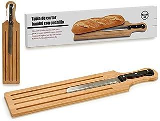 Dream Hogar Tabla para Cortar Pan con asa Bambu y Cuchillo 50x10,5 cm