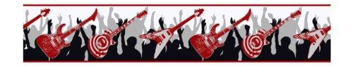 York Wallcoverings ZB3120B Guitar Wallpaper Border, White/Red/Black/Silver Metallic