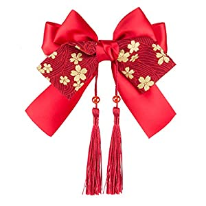Elezay レディース 和風美人 髪飾り フリンジ フワフワポンポン付き 桜柄 狐柄 かんざし 結婚式 成人式 和装小物 赤シリーズ 6タイプ A