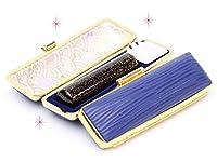 「ラメ黒水牛印鑑15.0mm×60mmクッキーケース(ブルー)付き」 縦彫り 古印体