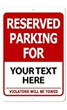 Custom Printed Reserved Parking 8 x 12 Aluminum Indoor/Outdoor Sign Text Only