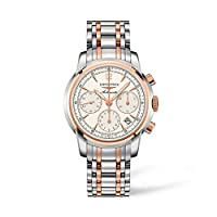 Longines Saint Imier Collection 18K Gold andステンレススチール自動クロノグラフ列ホイール透明ケースバックメンズ腕時計