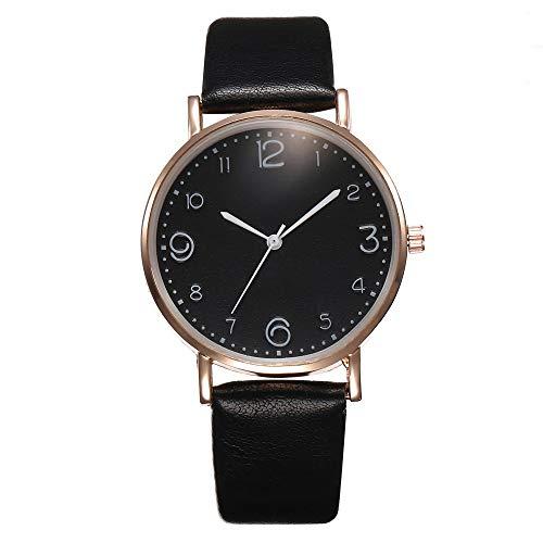 AAZZYUN Reloj de cinturón de Las señoras, Reloj de Cuarzo, Reloj de Estudiante, Reloj de Moda y de Estilo Simple, Reloj Informal (Color : Black)