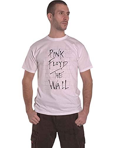 Pink Floyd The Wall & Logo T-Shirt, Bianco (White White), Large Uomo