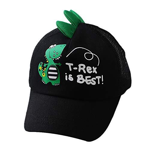 Cdet. 1x Sombrero de béisbol Moda patrón de Dinosaurio Respirable Casual Sombrero Primavera y Verano Actividades al Aire Libre béisbol Viaje Protector Solar Sol Gorra para niños niñas(Negro)