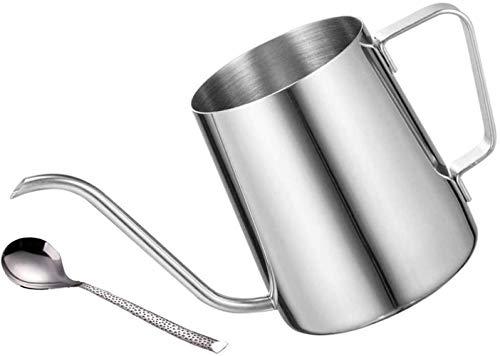 DELERKE Kaffeekessel 304 Edelstahl, Kaffeekanne Teekanne Kaffee Kettle mit Schwanenhals Schmaler Auslauf, Wasserkessel Tropfwasserkocher - Kaffee Tea Silber (12 Ounces, 350 ml)