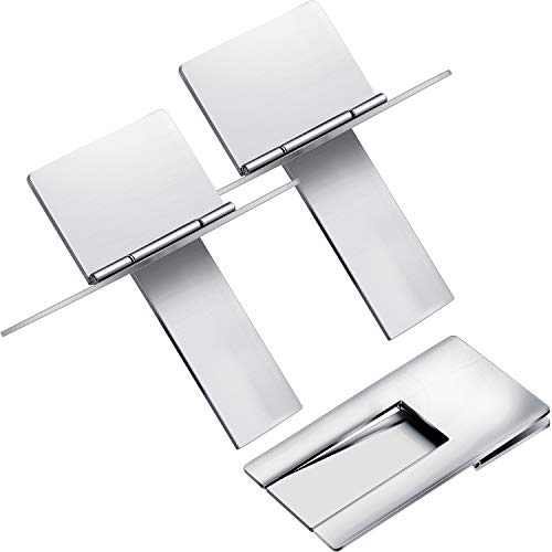 Stainless Steel Foldable Cigar Holder Cigarette Display Shelf Cigar Stand Rack for Cigarette Supplies, Silver (3 Pieces)