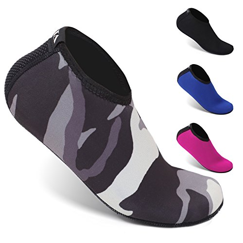 HEETA Neoprene Water Socks for Diving, Snorkeling, Swimming All Water Sports Camouflage L