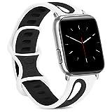 Yisica Kompatible für Apple Watch Armband 38mm 42mm 40mm 44mm, Atmungsaktiv Weiche Silikon Ersatz Armband für Apple Watch Series 5 4 3 2 1 (White/Black, 42/44mm M/L)