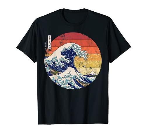 De la gran ola de Kanagawa Hokusai japonés hombres retros Camiseta