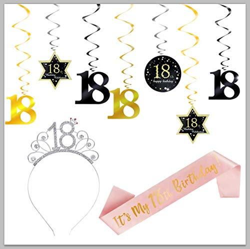 ZITA ELEMENT Guirnalda de oro rosa con texto en inglés 'Happy 18 Birthday Birthday', para el hombro, corona de 18 cumpleaños, decoración colgante en espiral