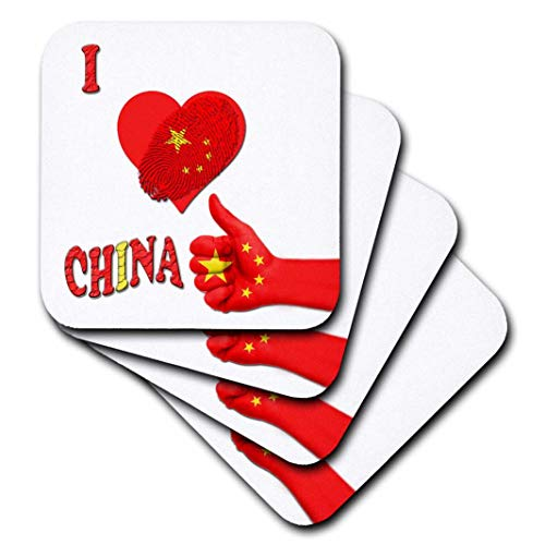 3dRose I Love China Chinesische Flagge Peking Great Wall of China Spruch: weiche Untersetzer, 8 Stück (CST_216541_2)