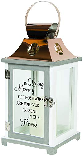 The Bridge Collection Wooden Memorial Lantern with Flameless LED Candle (in Loving Memory)