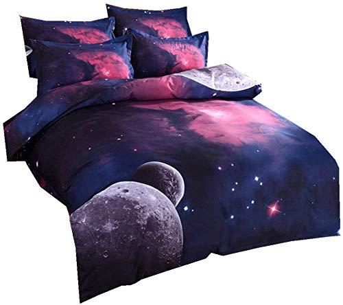 3D galaktischen kosmischen Himmel Anzüge Kinderbett Einhorn Sterne Mond Farbdruck Einzelbettbezug 140 x 200 cm,A
