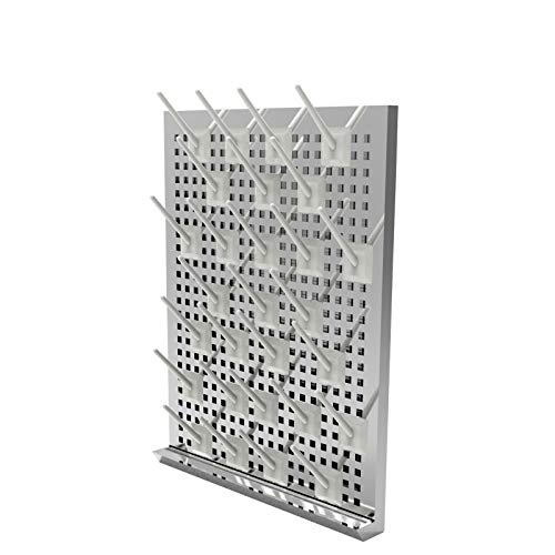 Stainless Steel 27 Pegs Lab Glassware Drying Rack, 304 Stainless Steel Board, Wall-Mount Laboratory Drying Draining Racks, Detachable Pegs for Laboratory Utensils (Grey)