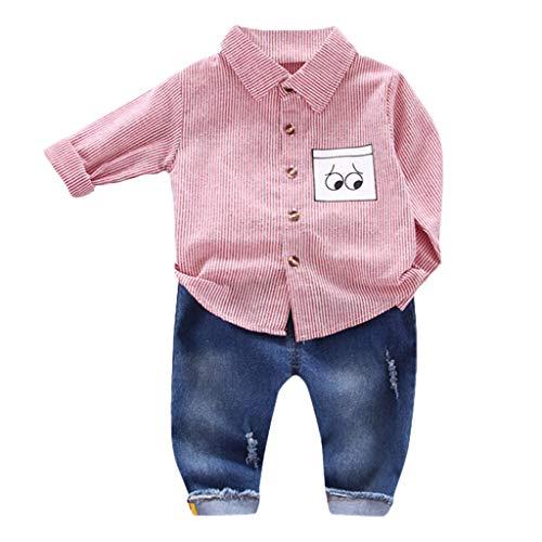 0-5 Años,SO-buts Recién Nacido Infantil Niño Bebés Caballeros Traje De Rayas Camisa De Dibujos Animados Blusa + Jeans Pantalones Trajes Conjunto Ropa De Otoño (Rosado,1-2 años)