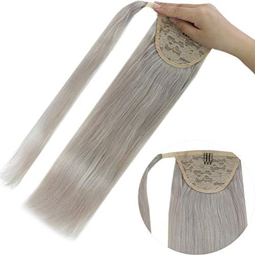 YoungSee Extension Capelli Veri Clip Coda Di Cavallo Grigio - Wrap Around Ponytail Clip in Human Hair Extensions - Remy Posticcio Capelli Veri Argento 80G 16 Pollice/40cm
