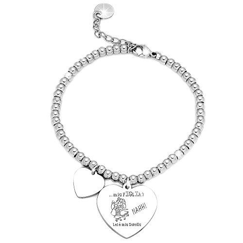 Beloved Bracciale da donna, braccialetto in acciaio emozionale - frasi, pensieri, parole con charms - ciondolo pendente - misura regolabile - incisione - argento - tema famiglia (MF13)