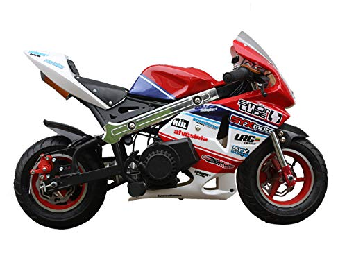 SYX MOTO Apex Electric Start 49cc 2-Stroke Gas Power Kids Mini Pocket Bike, Off-Roading Rocket Motorcycle with Single Cylinder and Air Cooler,Red/White/Blue