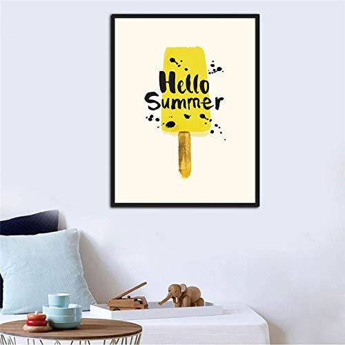Lfnfl Hello Summer Ice Cream, póster en lienzo, decoración de la sala de estar dormitorio-60X80Cm