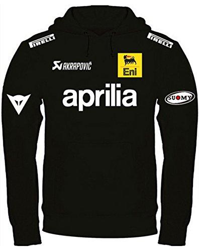 Print & Design Sweatshirt Aprilia Kapuzenpullover personalisierte handgefertigt (XL, Schwarz)