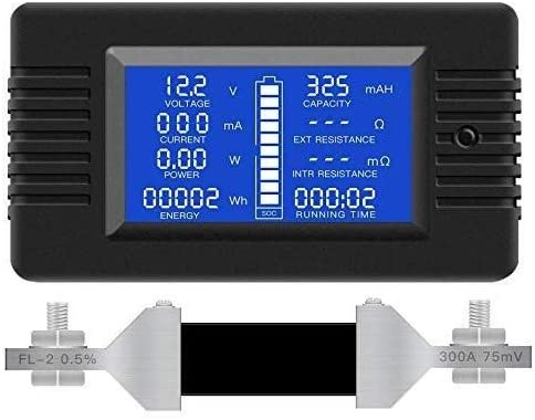 BXU-BG Multifunción monitor de la batería del medidor,0-200V,0-300A(ampliamente aplicado a 12V /24V/48V de la batería RV/Car)Pantalla LCD digital de voltaje actual de la energía solar multímetro del a