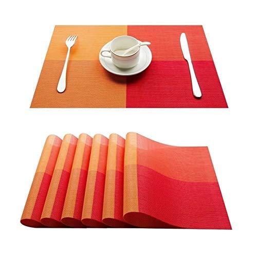 HUIJUNWENTI Conjunto de 4 PVC bambú manteles de plástico for el Comedor de Mesa sábanas Estera de Lugar situado en Accesorios de Cocina Taza del Vino Mat (Color : C Orange, Talla : Set of 10)
