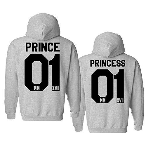 Mixcept Partner Hoodie Set Prince Princess Pullover Paar Pullover Couple Sweatshirt Partnerlook Pulli Pärchen Fun-Kapuzenpullover Geschenk, 2 Stücke