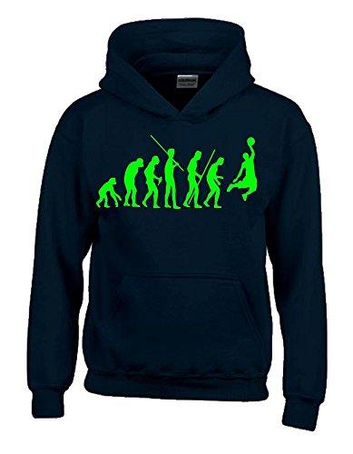 Coole-Fun-T-Shirts Basketball Evolution Kinder Sweatshirt mit Kapuze Hoodie schwarz-Green, Gr.164cm
