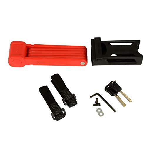 FISCHER Faltschloss inkl Halterung und 2 Sicherheitsschlüssel | rot 85 cm