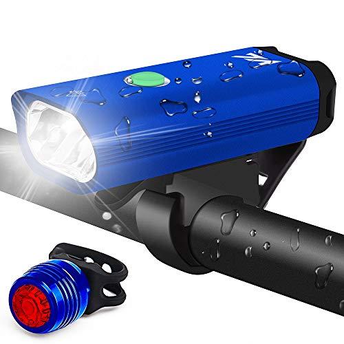 VICTGOAL 自転車ライト USB充電式 自転車用ヘッドライトとテールライト 1800mAh 高輝度LED懐中電灯 アルミ合金製 サイクリング用 防水 防災フロント用 (青い)