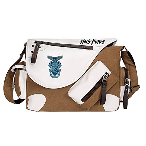 QLma Bolso mensajero de viaje de ocio juvenil bolso de hombro multifuncional Ravenclaw estilo retro 35x26x11cm Marrón