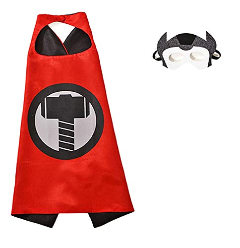 3/6 jaar - klederdracht - vermomming - carnaval - halloween - borst - super held - rode kleur - masker - mantel - kind