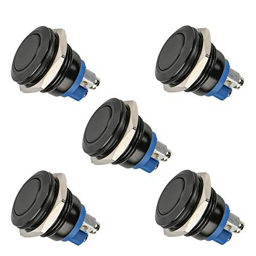 EEEKit 5pcs 16mm 5/8'12V Metal Momentary Push Button Switch, Interruptor de botón Marino Redondo SPDT a Prueba de Agua con luz Azul LED para Carro RV Truck Boat - Negro Shell