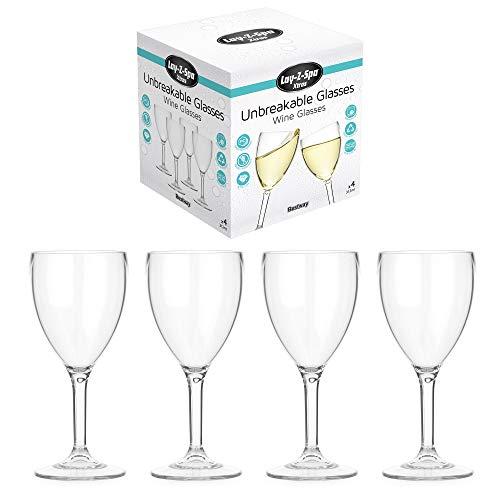 Lay-Z-Spa BWA0006 Weingläser aus Polykarbonat, wiederverwendbar, praktisch unzerbrechlich, 4 Stück, transparent