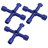 Antrader 4-Way Multi-Functional Utilities Key Triangle/Square Wrench for Train Electrical Control Cabinet Elevator Water Meter Valve 3-Pack, Blue