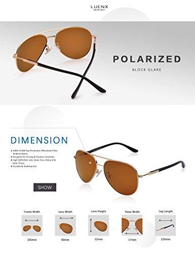 Hommes Lunettes de soleil polarisées pour femme-UV 400 Protection Avec Étui 60 mm par LUENX
