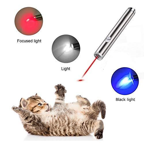 USB Ricaricabile 3 in 1 Funzione Luce UV Interactive Esercizio Animale Domestico Luce di Comando per Gatto Cane Chaser Luce Rossa Mini Torcia DIWUJI Giocattoli per Gatti Puntatore a LED