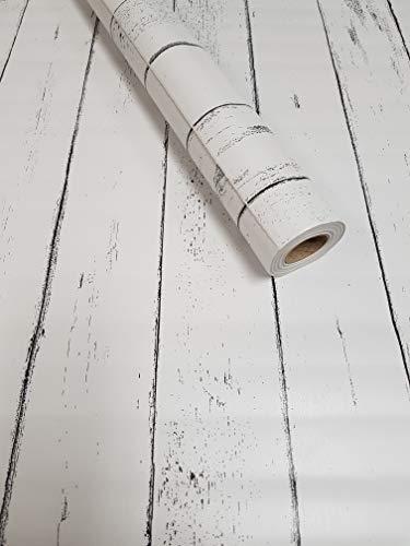 Visario Tapeten Folie 3000-S selbstklebend Holz Bretter Paneel Strandhaus Dekorfolie Möbelfolie Tapete weiß 10 m x 45 cm 3021