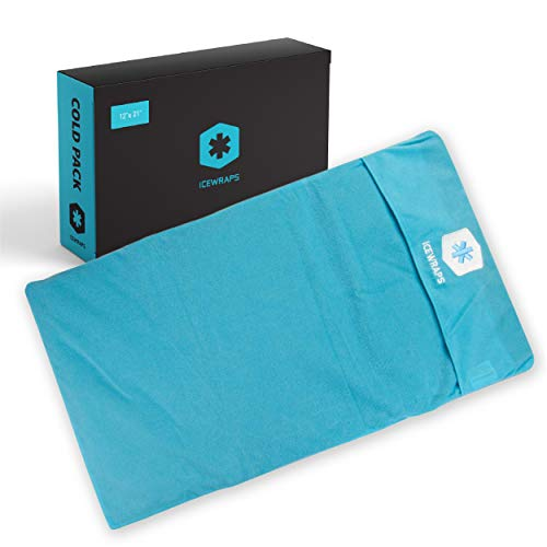 """ICEWRAPS 12""""x21"""" Reusable Ice Pack with Soft Fabric Cover - Oversize Flexible Cold Therapy Wrap for Back, Hip, Knee Injuries, Sciatica, and Chronic Pain Relief"""
