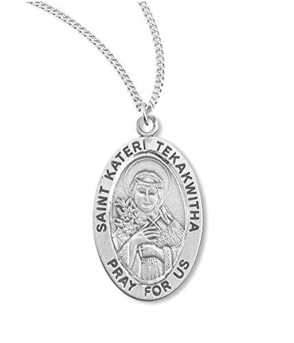 BERTOF Saint KATERI TEKAKWITHA スターリングシルバーメダル 7/8インチ 楕円形 チェーン付き 著作権所有 Paul Herbert Blessing SILPATRON シリーズ