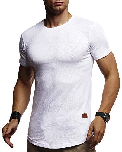 Leif Nelson Herren Sommer T-Shirt Rundhals Ausschnitt Slim Fit Baumwolle-Anteil Cooles Basic Männer T-Shirt Crew Neck Jungen Kurzarmshirt O-Neck Kurzarm Lang LN8331 Weiß Small